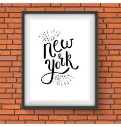Conceptual new york texts on a white frame vector