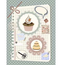Scrapbook with nakin and cakes toys and other desi vector