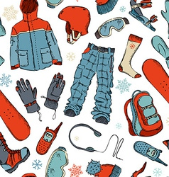 Seamless pattern of winter extreme sport vector
