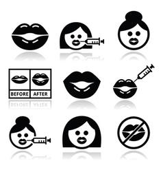 Big lips lip augmentation icons - beauty concept vector