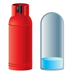 Red butane gas cylinder vector