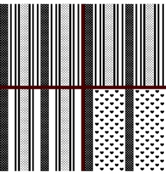 Black and white striped heart patterns vector