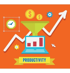 Flat concept of productivity business and growth vector