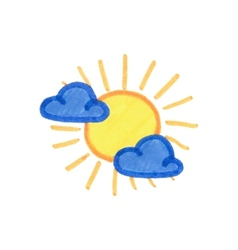 Sun and clouds icon weather pictogram on the vector