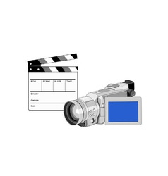 Video camera movie clapboard retro vector