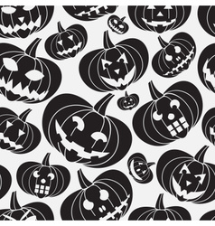 Black halloween carved pumpkin seamless pattern vector