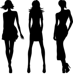Silhouette of fashion girls top models vector