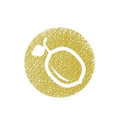 Lemon icon with hand drawn lines texture vector
