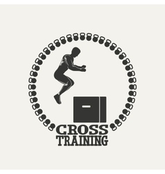 Cross training man silhouet 3 logo vector