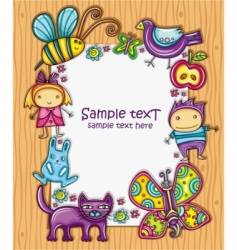 Children cartoon frame vector