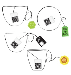 Various teabags stylized as a cup of tee vector