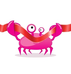Cartoon crab cutting red ribbon vector