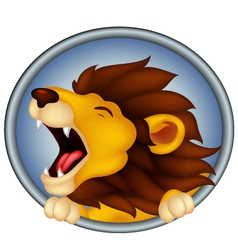 Angry head lion cartoon roaring vector