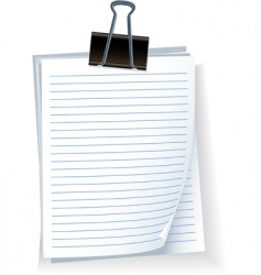 Note paper with bulldog clip vector