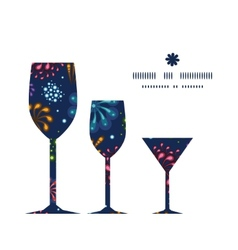 Holiday fireworks three wine glasses silhouettes vector