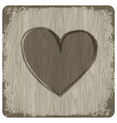 Heart on wooden texture vector