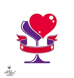 Heart wineglass vector