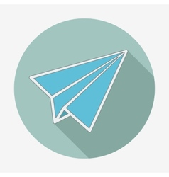 Flat style icon with long shadow paper plane vector