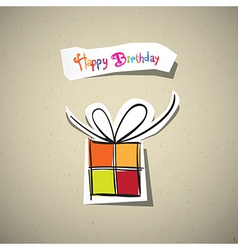 Happy birthday card present box cut from paper on vector
