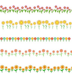 Flowers frame isolated on white background vector