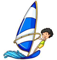 A young boy enjoying the watersport activity vector