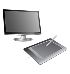 Computer monitor and graphics tablet vector