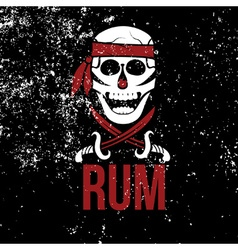 Jolly roger rum on grunge background vector