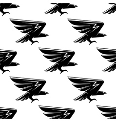 Seamless pattern with black hawks birds vector