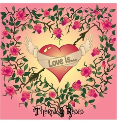 Heart roses and thorns vector