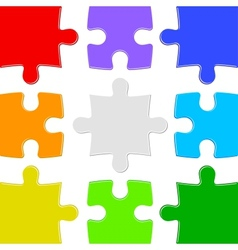 Nine color puzzles vector