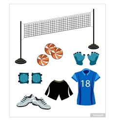 Set of volleyball equipment on white background vector