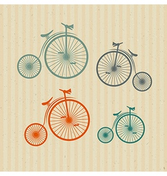 Abstract old vintage bicycles bikes on recycled vector