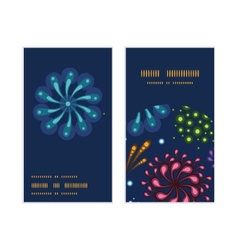 Holiday fireworks vertical round frame pattern vector