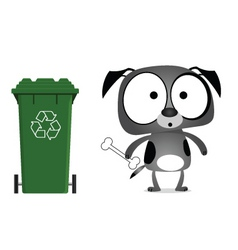 Dog recycling message vector