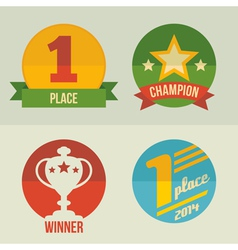 First place icons set flat design vector