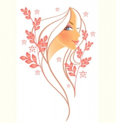 Women profile leaf vector