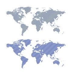 Dark blue striped maps of world vector