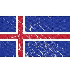 Flag of iceland with old texture vector