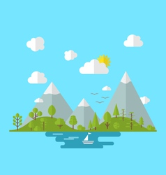 Landscape woods valley hill forest land nature vector