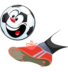 Foot kicking funny soccer ball isolated - vector