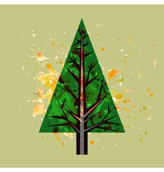 Abstract watercolor pine tree vector