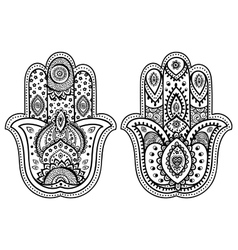 Indian hand drawn hamsa with ornaments vector