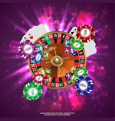 Casino roulette playing cards wtf falling chips vector