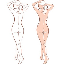 Nude woman silhouette vector