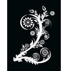 Number two made with floral ornament on black vector