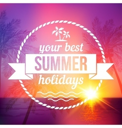 Summer tropical sunset background with text badge vector