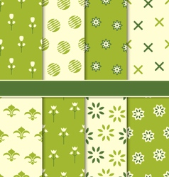 Collection of 8 seamless abstract floral ecologic vector
