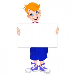 Kid holding blank sign vector