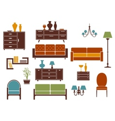 Furniture and home interior flat design elements vector