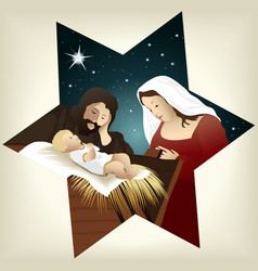 Christmas nativity scene vector